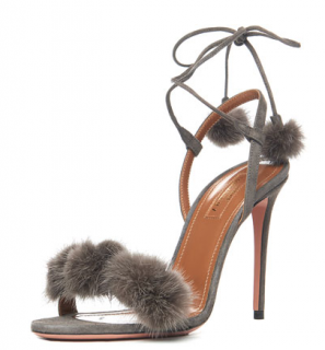 Aquazzura Wild Thing Russian Mink Fur Sandals