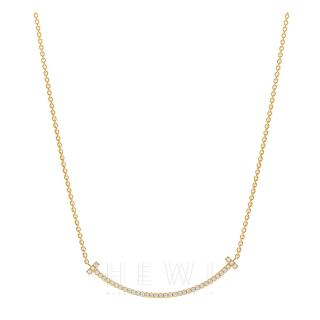 Tiffany & Co. T Yellow Gold 10ct Diamond Smile Pendant Necklace