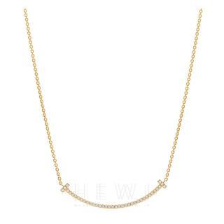 Tiffany & Co. T Yellow Gold 10ct Diamond Smile Pendant Necklace