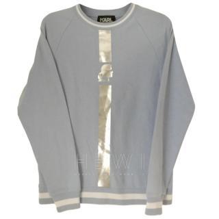 Karl Lagerfeld Blue Sweatshirt W/ SIlver Sport Stripe