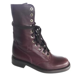 Chanel Burgundy Lace-Up Boots