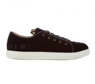 Charlotte Olympia Purrfect Kitty Low-Top Velvet Trainers