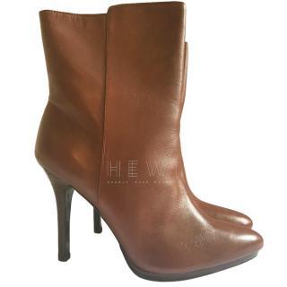 Lauren Ralph Lauren Tan Leather Ankle Boots