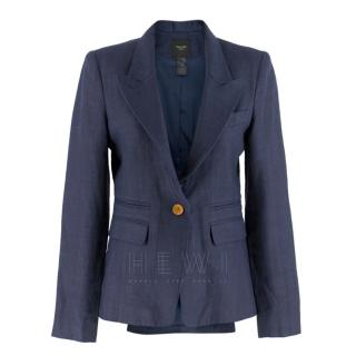 Smythe Navy Blue Blazer W/ White Elbow Patches