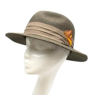 Christys' Green Wool Leather Trim Trilby Hat