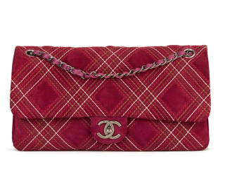 Chanel Stitch Detail Velvet Classic Flap