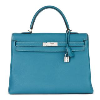 Hermes Blue Jean 35cm Kelly Retourne in Togo Leather