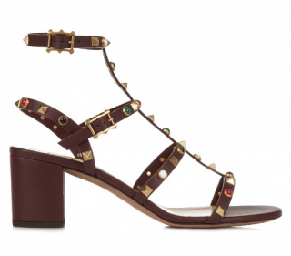 Valentino Classic-Fit Rockstud Rolling Leather Sandals In Burgundy