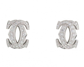 C de Cartier Diamond White Gold Earrings