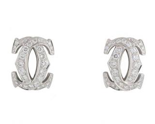 C de Cartier Diamond White Gold Earrings