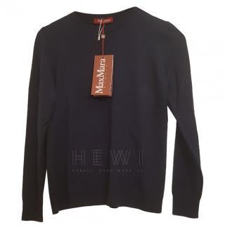 Max Mara navy knit wool jumper