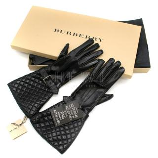 Burberry Black Patent Aged Leather Buckle Detail Gloves