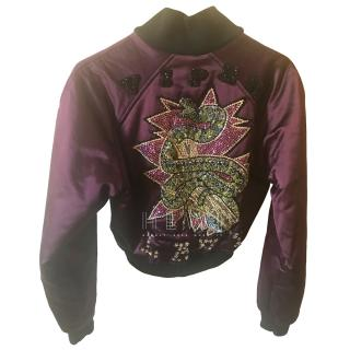 Dole & Gabbana Limited Edition Embroidered Purple Bomber Jacket