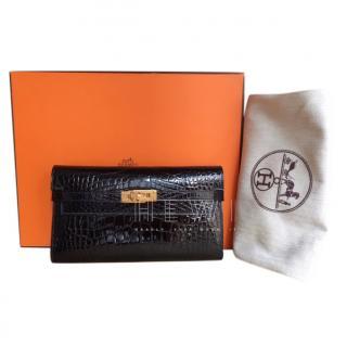 Hermes Alligator Mississippiensis Black Kelly Long Wallet