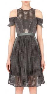Self-Portrait Grey Giupere Lace Cold-Shoulder Dress