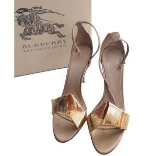 Burberry Prorsum Leather & Python Berkeley 100 Sandals