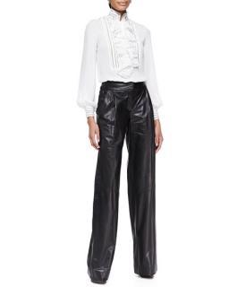 Oscar de la Renta Wide-Leg Leather Trousers