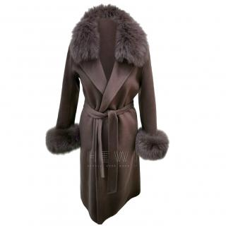 Max Mara Brown Fur Trim Cashmere & Wool Wrap Coat