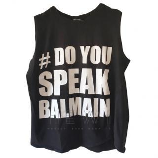 Balmain Black 'Do You Speak Balmain' Sleeveless Top