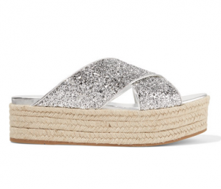 Miu Miu Glittered Leather Espadrille Platform Sandals