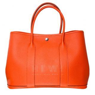 Hermes Orange Leather Garden Party Tote Bag