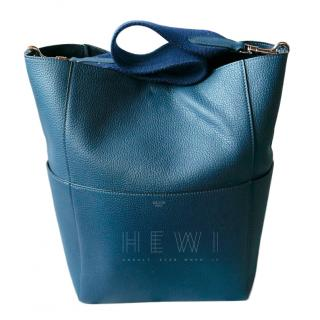 Celine Teal Sangle Bucket Bag