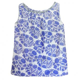 Dosa Blue & White Floral Sleeveless Top