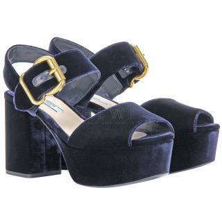 Prada Midnight Blue Velvet Platform Sandals