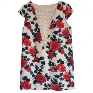 Manoush Rose Print Mini Dress W/ Lace Panel