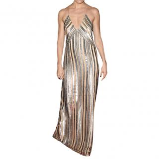 Galvan Metallic Lurex Striped Dress