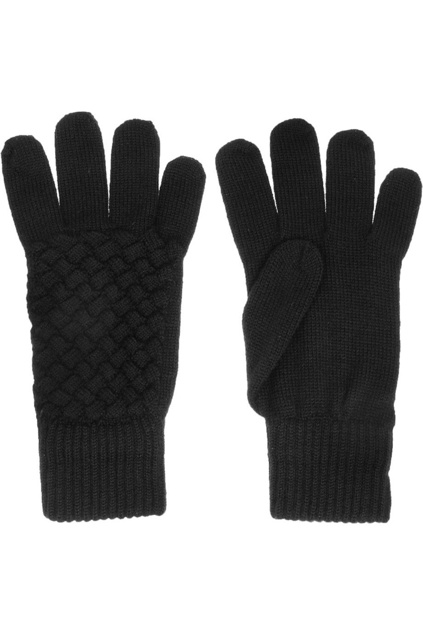 Bottega Veneta Wool Intrecciato Black Gloves