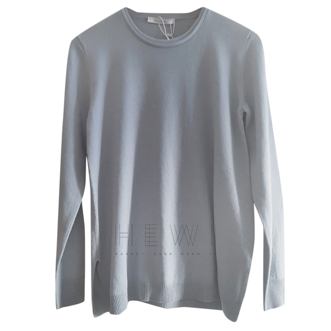 Max Mara Pale Blue Wool Round Neck Jumper