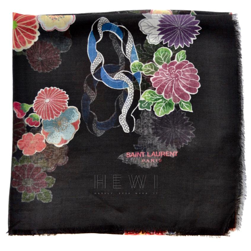 Saint Laurent Sheer Wool Floral Love Print Scarf