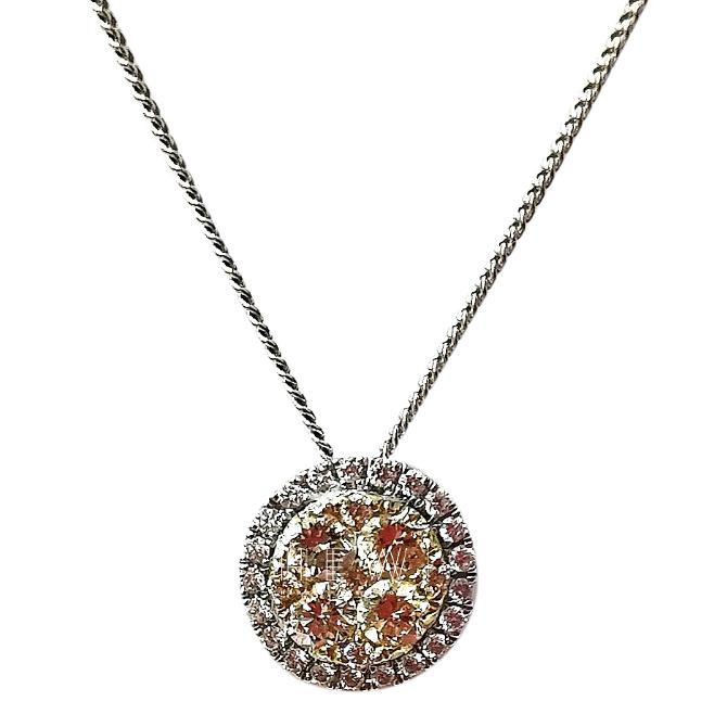 Bespoke 18ct White Gold 0.50ct Diamond Halo Pendant Necklace