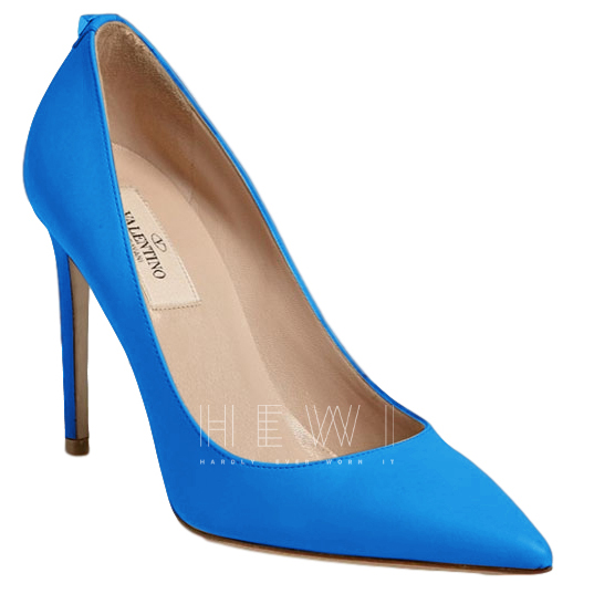 Valentino New Leather Pumps T100 in Fluo Blue