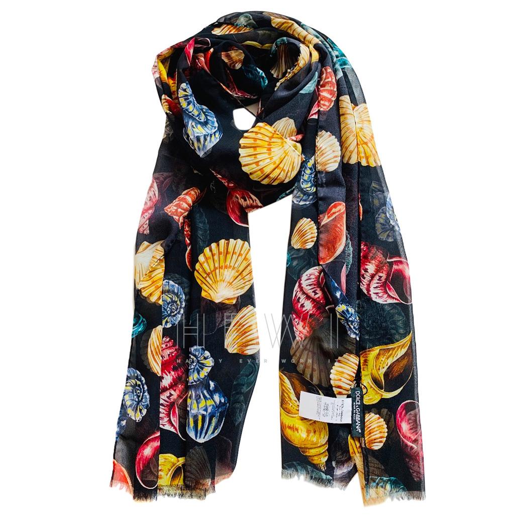 Dolce & Gabbana Seashell Print Silk Scarf