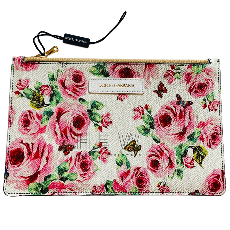 Dolce & Gabbana Rose Print Leather Pouch