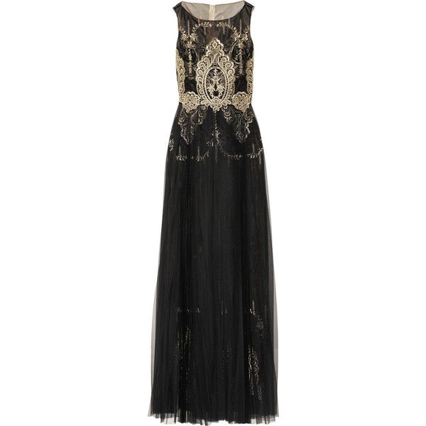 Marchesa Notte Embroidered Organza Tulle Gown
