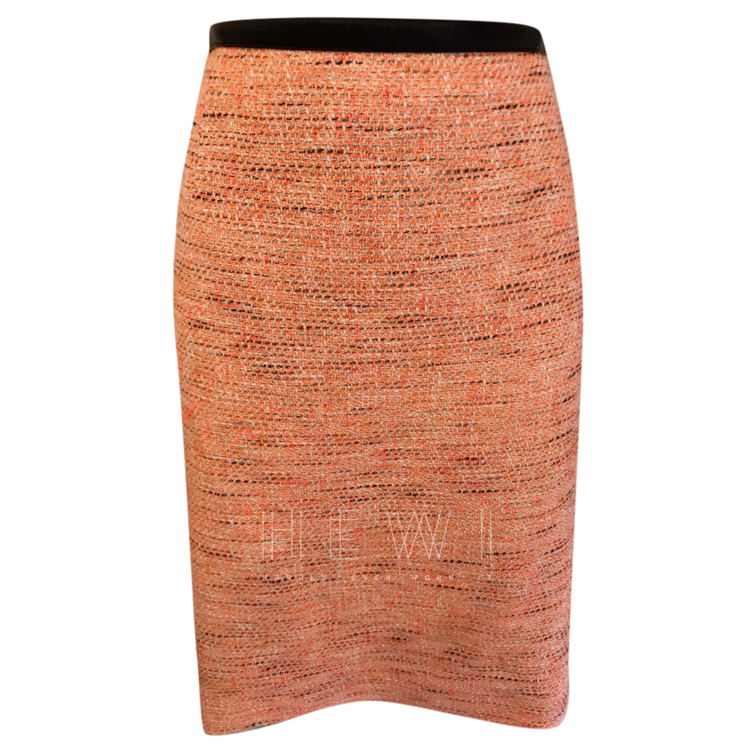 jonathan Saunders Orange Tweed Pencil Skirt