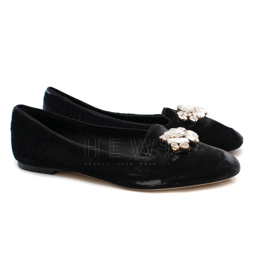 Dolce & Gabbana black velvet crystal embellished ballet flats