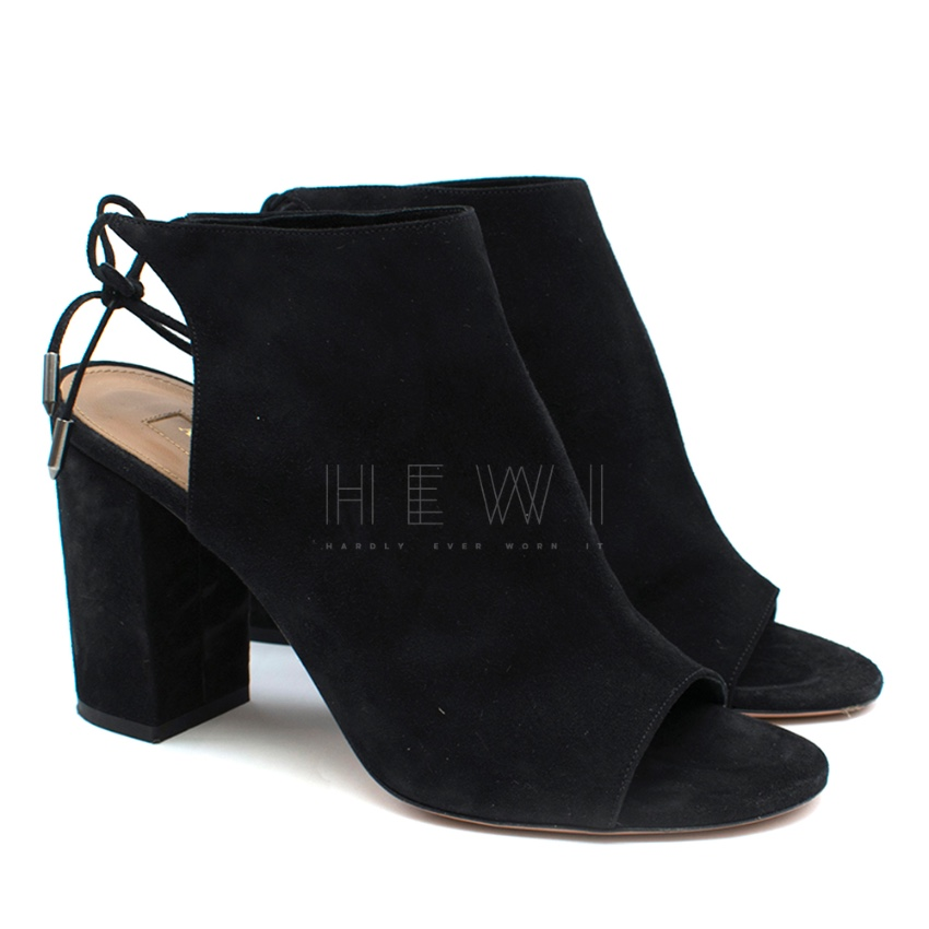 Aquazzura Black Suede Block Heel Sandals
