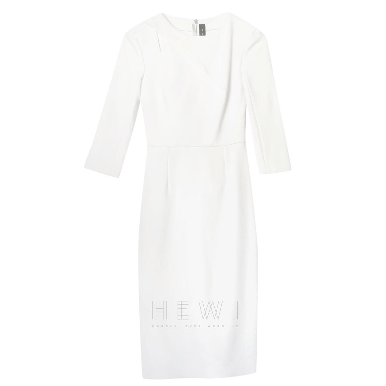 Roland Mouret White Asymmetric Midi Dress