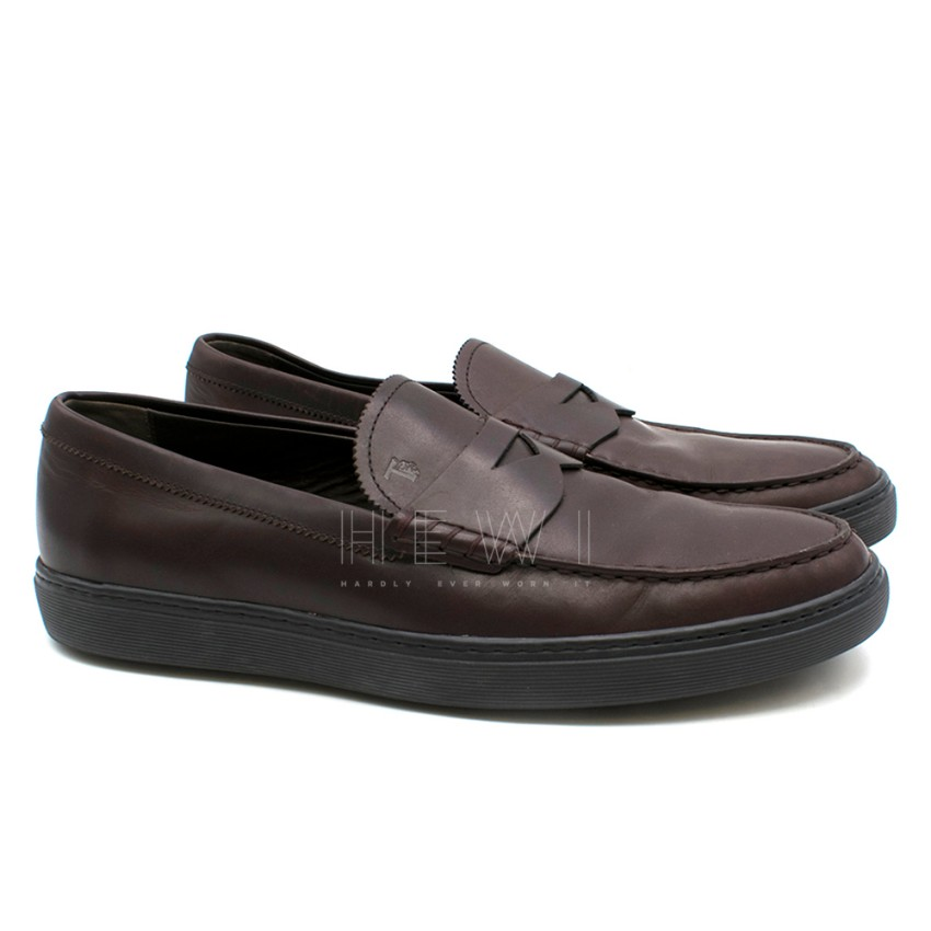Tod's Dark Brown Leather Penny Loafer shoes