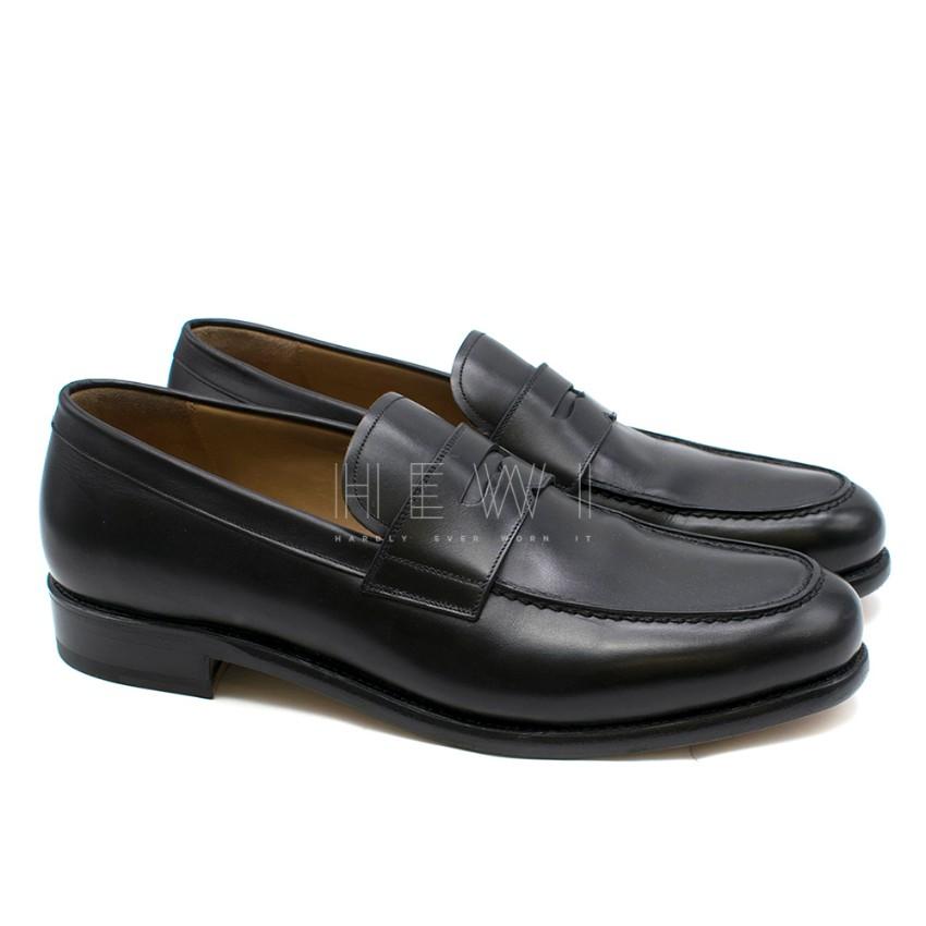 Salvatore Ferragamo Black Leather Church Loafers