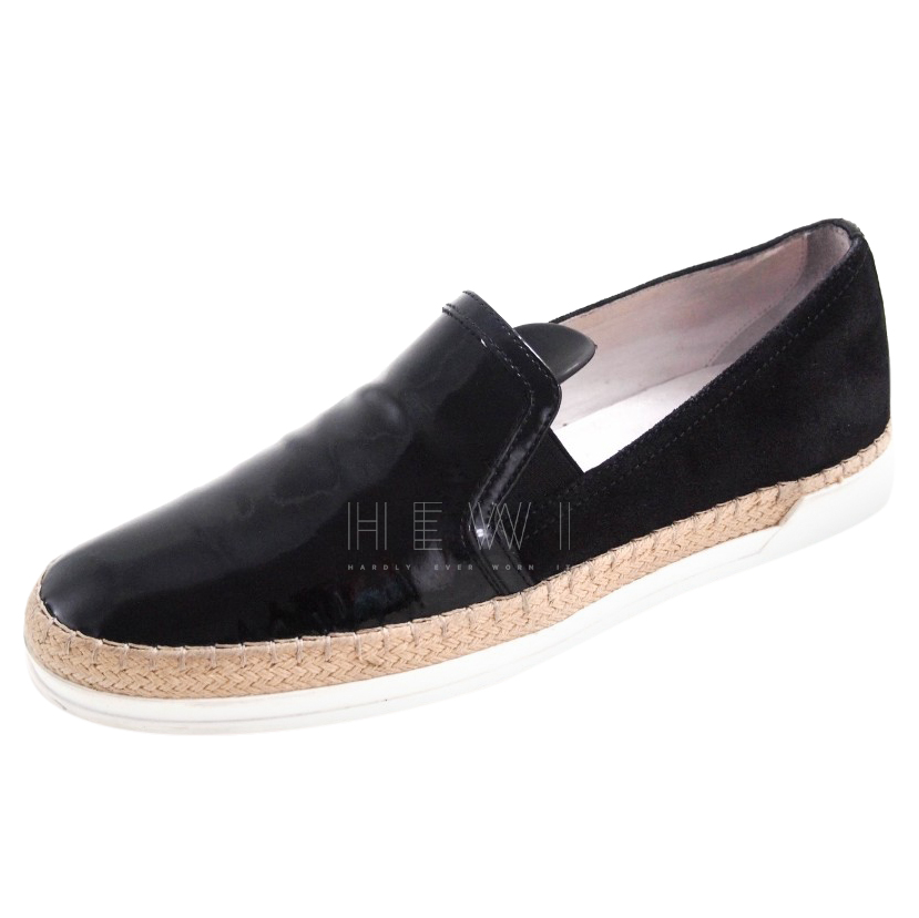 Tod's Patent Black Slip-On Sneakers