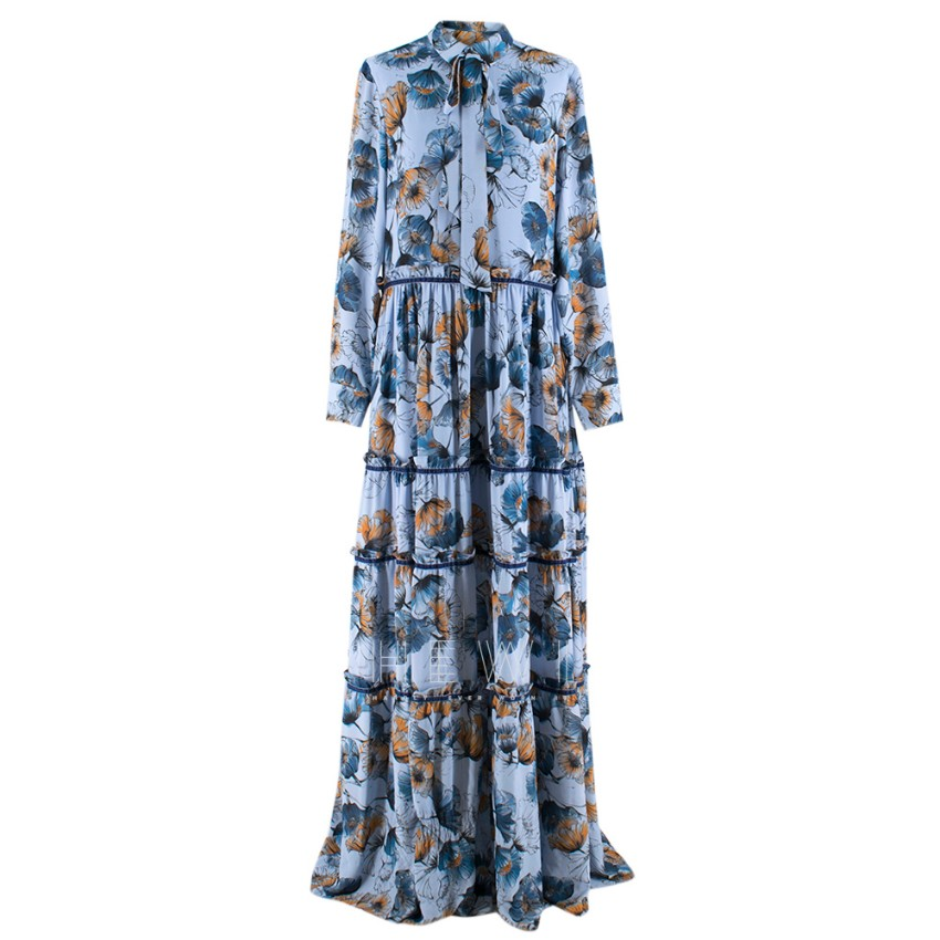 Prose & Poetry Blue & Orange Floral Maxi Dress