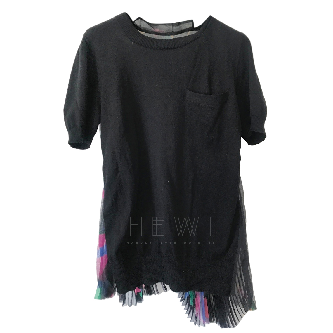 Sacai Pleat Back Black T-Shirt
