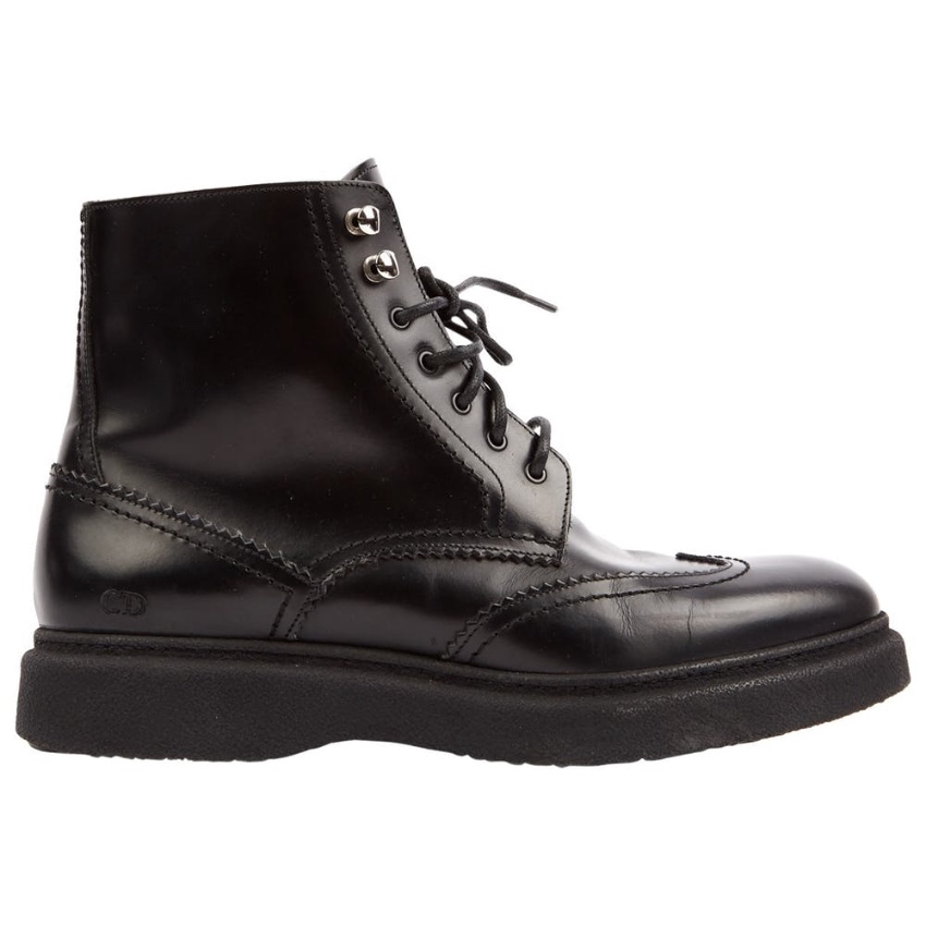 Dior Black Polished Leather Lace-Up Boots