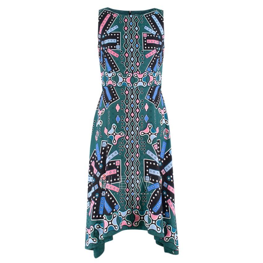 Peter Pilotto green printed silk sleeveless dress