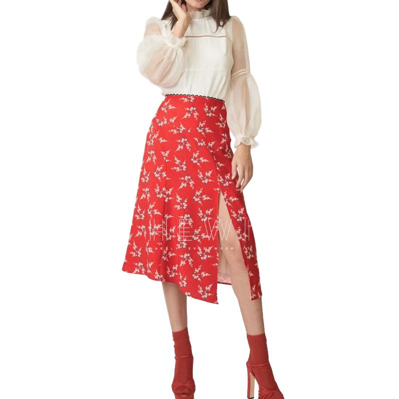 Allen Schwartz Red Floral Print Skirt
